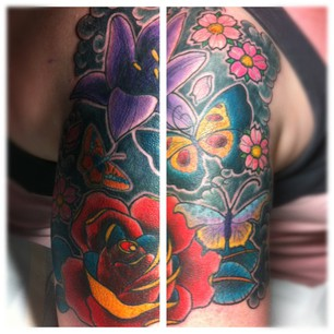 Cover Tatto on Flowers And Butterflies Cover Up    Tattoo Zoo