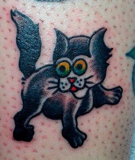 cat tattoo by caroline paquet