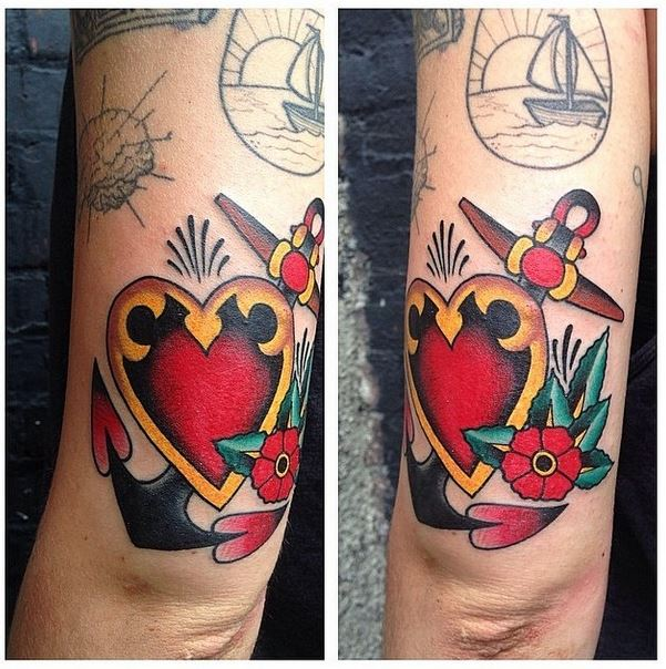 mason jerry heart anchor tattoo