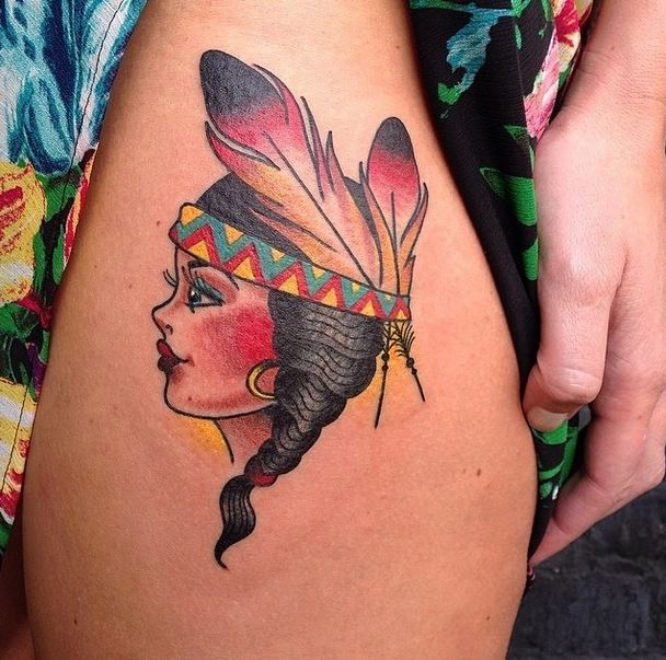 mason sailor jerry indian head girl tattoo