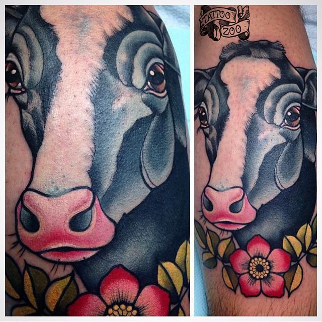 Good mooooorning.  (tattoo by @bold_and_classy)