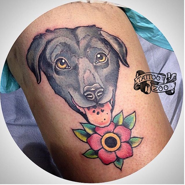 Little doggie @bold_and_classy did at the @calgarytattooshow this weekend. #welovetattooingyou Call 250-361-1952 to book. #calgarytattooconvention