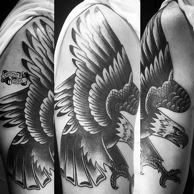Nothing like an old school eagle to make you look like a badass!! (tattoo by @gerrykramer). Call 250-361-1952 to book.