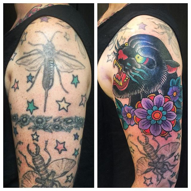 Good bye weird 90's armband. Hello gorgeous new tattoo!! (Tattoo by @gerrykramer). Call 250-361-1952 to book. #weLOVEdoingcoverups