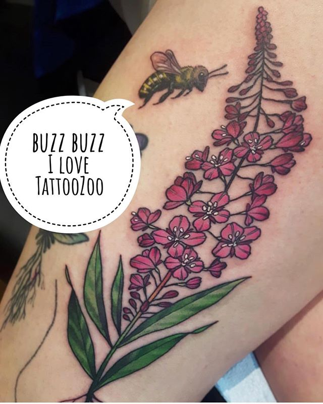 Buzz buzz. It's Monday and we are open 12-5pm. (tattoo by @marymadsentattoos)