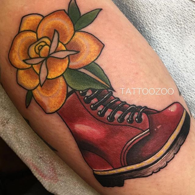 """Put on your shit kickers and kick some shit!! (tattoo by @mothershellytattoos) Visit 826 Fort Street and look through our Wanna-Do books. You might find something you """"wanna do""""!!"""