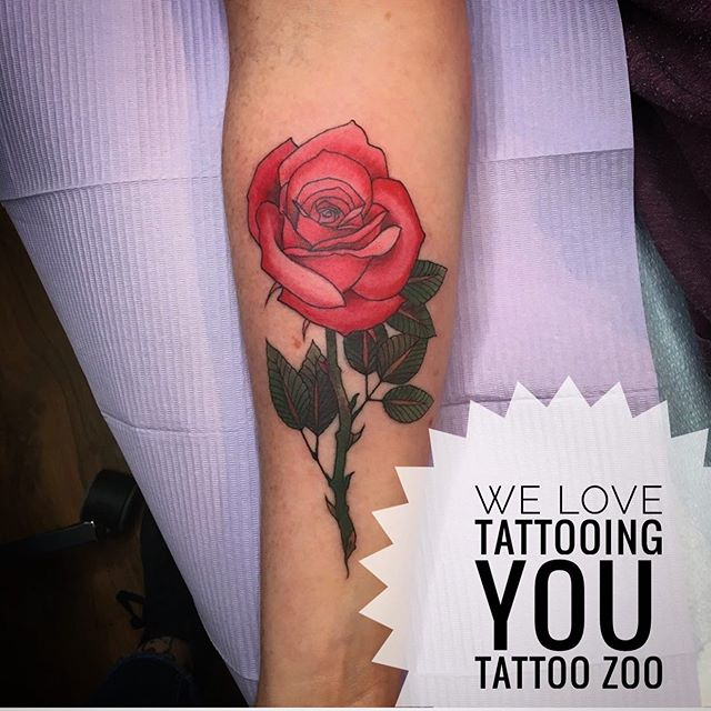 """Angie LOVES tattooing you!! This gorgeous rose was picked out of @angiedifrantattoos Wanna-Do Book yesterday! Come down to 826 Fort Street and look through her book. You might find something you """"wanna do""""...Oh. And guess what? She has some free time today to tattoo you! 🥰 Open 12-5pm."""