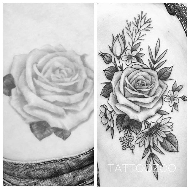 The glow up on this is amazing!! @interstellarwhispers added and refreshed this older tattoo into this new bouquet of gorgeousness!! Call 250-361-1952 to book your FREE consultation.