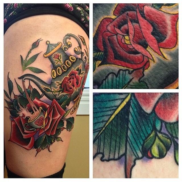 mason teapot rose tattoo