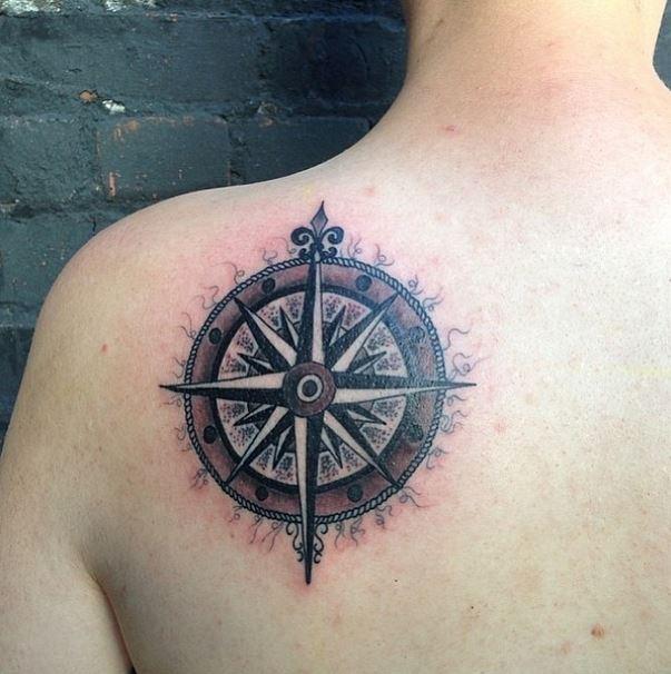mason compass rose tattoo