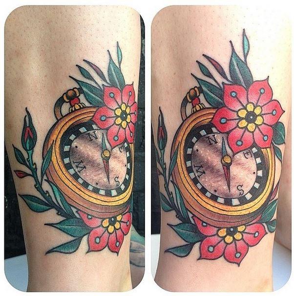 mason compass tattoo