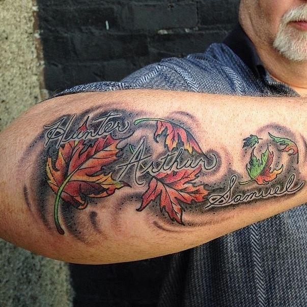 mason leaves script tattoo