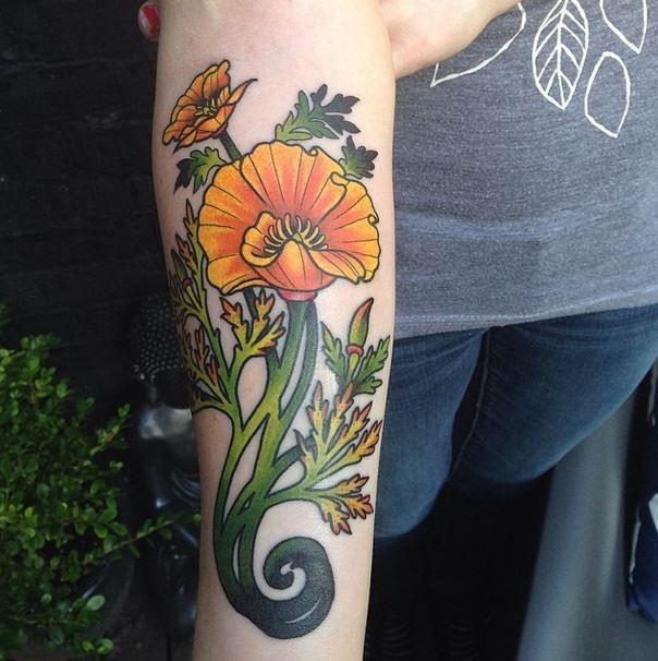 Art Nouveau Inspired California Poppy By Mason Larose