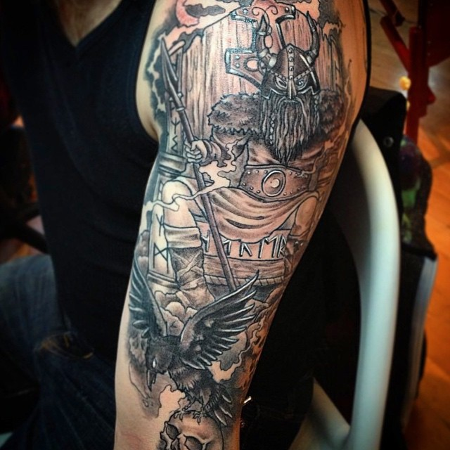 Miss @tamitattoos got a good head start on this sleeve. #sometal Call 250-361-1952 to book!