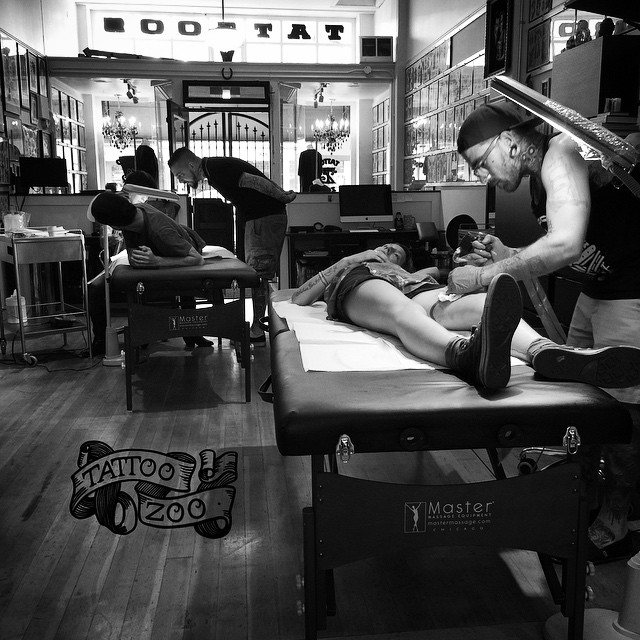 We close at 6pm... But sometimes we end up staying late. #welovetattooingyou