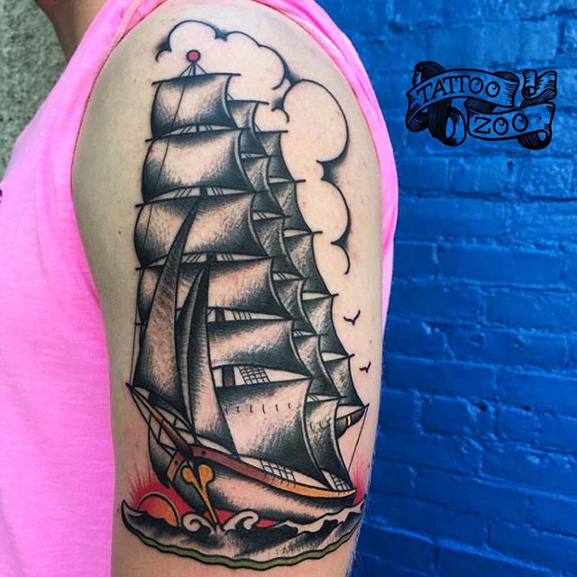 Beautiful tattoo by @prairietats (drawing by @sailorjerry). Call 250-361-1952 to book!