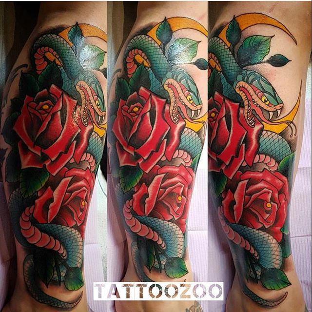 Ssssnakes are AWESOME! We are open til 6pm. Walk-ins welcome. (tattoo by the incomparable @gerrykramer)
