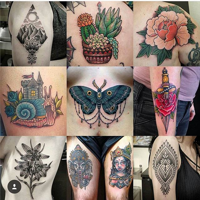 We are OPEN!! Here til 5pm. We have a few spots open this afternoon for walk-ins! Come down to 826 Fort or call 250-361-1952 to book. (tattoos by @interstellarwhispers)
