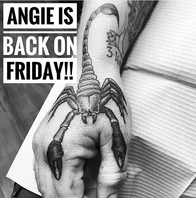 FRIENDS!!!! Our darling @angiedifrantattoos is back from her trip out East TOMORROW! Call 250-361-1952 to book a FREE CONSULTATION!! 🦂