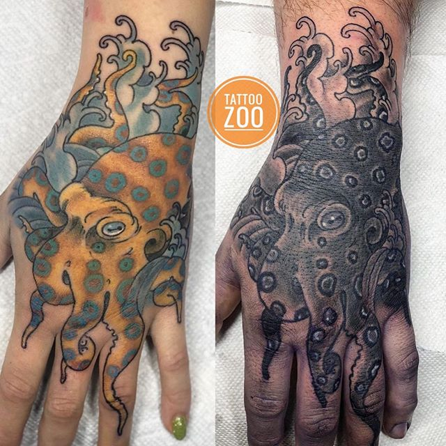 "Everytime @gerrykramer does an octopus tattoo he says ""That is my last one!!!"" and yet... here are two more! 🤣 Call 250-361-1952 and book a FREE consultation for an octopus tattoo!! 🤪🥰"