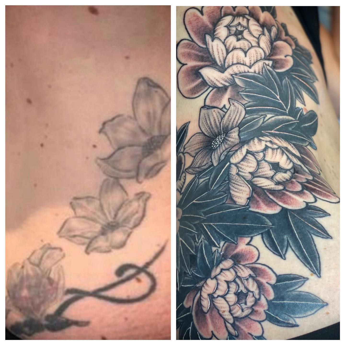 Before and After!! Another amazing coverup by @gerikramertattoos