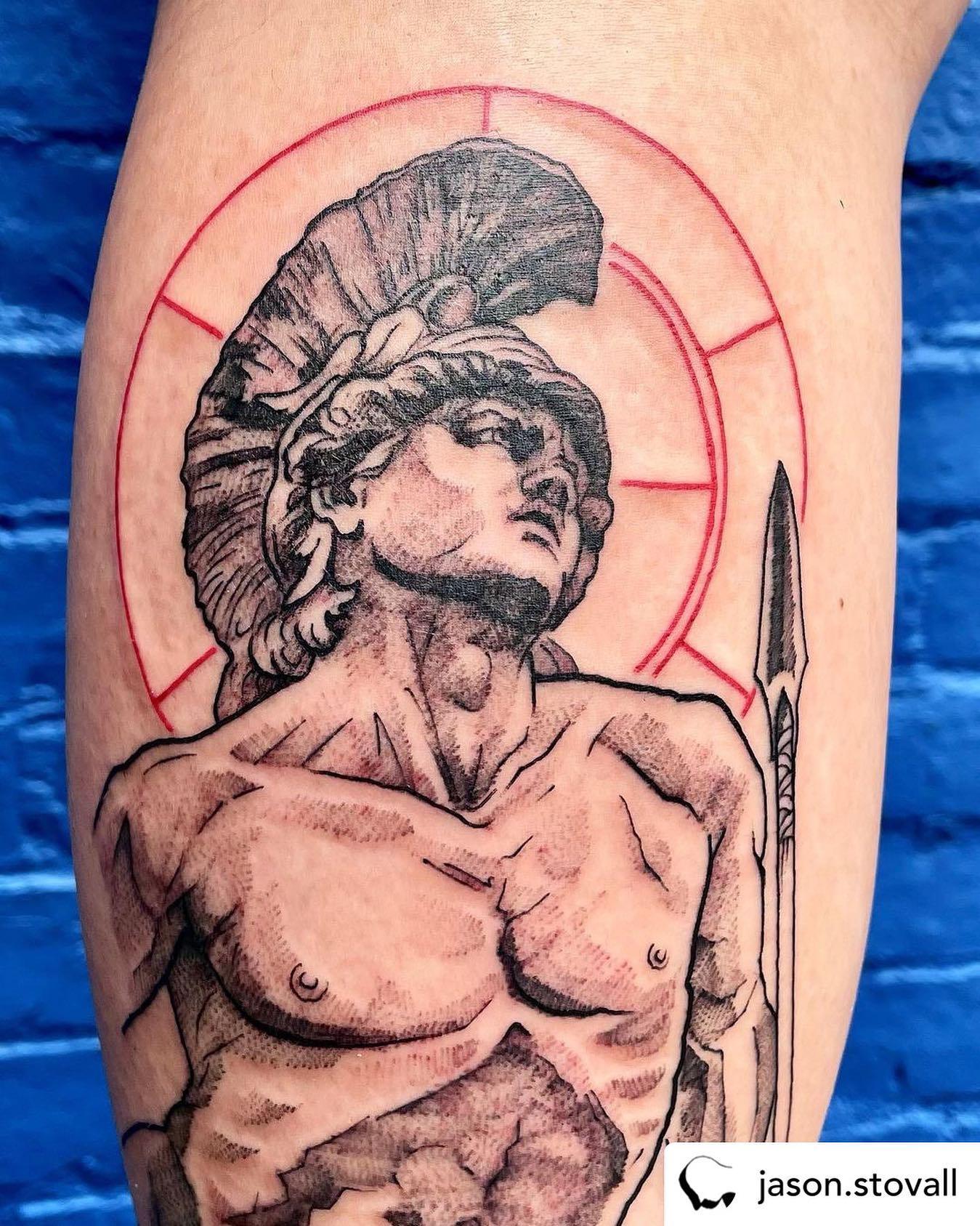• @jason.stovall Achilles!!! Super fun. Swipe for detail of face. Thanks so much Emily!! ......#achilles #calftattoo #achillestendon #greekwarrior #greeksculpture #ancientgreek #ancientgreece #tattoozoo #jasonstovall